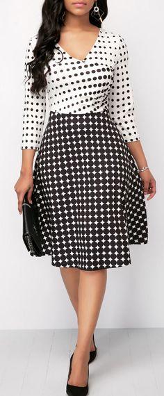Three Quarter Sleeve Polka Dot High Waist Dress
