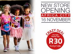 Who knows where we'll be setting up shop next? 😳 🤔 That's right – Africa City! 😮🙌🎉 We can't wait to see you all and have a JAMmin' opening day next Thurs, 16 Nov, with one of our famous ONE-DAY-ONLY sales! Disney Tops, Disney Girls, Only Sale, Cant Wait To See You, One Day Only, Africa, City, Instagram Posts, Shopping