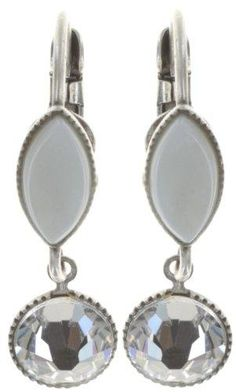 earring eurowire dangling Dance with Navette white shiny silver