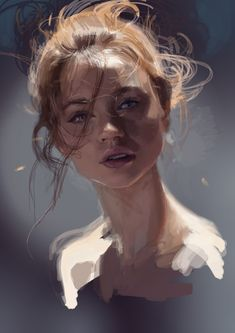 ArtStation - Study in The Hot Day, by Andrei Riabovitchev More on RHB_RBS - Portrait - Pflanzen Digital Painting Tutorials, Art Tutorials, Digital Paintings, Digital Portrait, Portrait Art, Digital Art, Art Sketches, Art Drawings, Drawing Faces