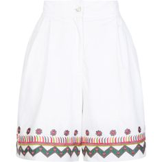 Temperley London Fable Shorts ($220) ❤ liked on Polyvore featuring shorts, red, tailored, tailored shorts, red shorts, temperley london, embroidered shorts and summer shorts