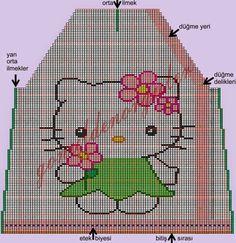 el örgü bebek yelekleri           hello kitty bebek yeleği      Hello Kitty bebek Yeleği Yapılışı: Knitting For Kids, Baby Knitting, Crochet Baby, Baby Sweater Knitting Pattern, Knitting Charts, Hugs And Cuddles, Cute Little Kittens, Baby Vest, Baby Sweaters