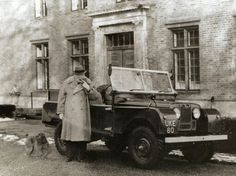 Winston Churchill with his beloved Land Rover in 1954, a gift for his 80th birthday