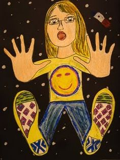 Falling Through Space 5th grade - instructions : My students start by tracing their hands and feet. After this, they draw their head, neck, arms, and legs. I then have my students outline everything in black marker and color with oil pastels. Next, I have them cut the entire thing out, and glue it to large black paper. Stars and planets are drawn with oil pastels.