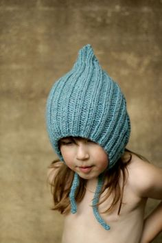 Chubby Pixie, Sky Blue, Kid Size. Handmade, Vintage-Inspired Woollen Hat