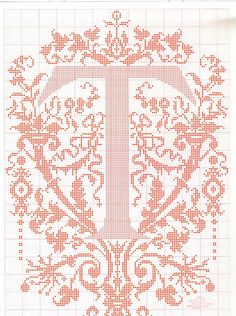 """cross stitch alphabet in 2 colors- very ornate monogram 26 single letters -- """"T'"""" #20"""