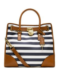 MICHAEL Michael Kors  Large Hamilton Striped Canvas Tote.
