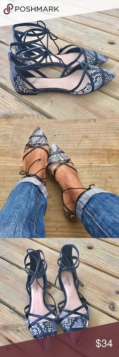 Gianni Bini Flats!! Snake print flats with cutout detail that lace up at the ankle!! Gently used condition!! Gianni Bini Shoes Flats & Loafers