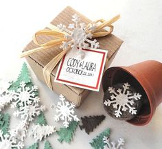 Snowflake Wedding Favor Gift Box Set - Holiday Party Favors, Custom, Personalized by Nature Favors Seed Wedding Favors, Winter Wedding Favors, Christmas Party Favors, Unique Christmas Gifts, Holiday Gifts, Winter Weddings, Simple Christmas, Wedding Ideas, Office Xmas Gifts