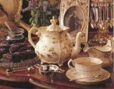 Certainly not a pot Mrs Farifax would have used sharing a cup with Jane! This ornate tea set was used for high tea. Perhaps Mr Rochester 'wooing' Ms Ingram.
