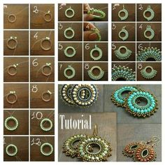 Square stitch around a ring earring tutorial and pattern. How to make diy bead jewellery Beaded Earrings Patterns, Diy Earrings, Beading Patterns, Hoop Earrings, Seed Bead Jewelry, Bead Jewellery, Jewelry Findings, Diamond Jewelry, Jewelry Crafts