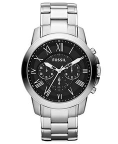Fossil Watch, Mens Chronograph Grant Stainless Steel Bracelet 44mm FS4736 - All Watches - Jewelry & Watches - Macys $125.00
