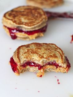 Peanut Butter and Jelly Banana Pancake Sandwiches