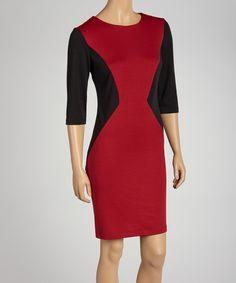 Black & Red Color Block Dress  DYT type 4