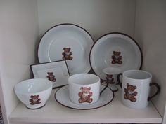 mug, bowl, cups and plates. teddy bear hand painted on Limoges porcelain , designer Patricia Deroubaix, hand painted in Limoges porcelain. cereal bowl/ all shapes on special orders Fragile, Cereal Bowls, Cups, Creations, Porcelain, Teddy Bear, Hand Painted, Plates, Tableware