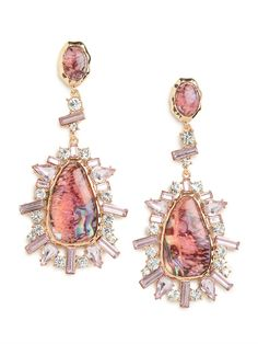 Rose Agate Burst Drops from @BaubleBar.  Talk about a knockout statement style. These gorgeous earrings flaunt a delightful sunburst silhouette, but it's the gemstones that pack the stylish punch — just check out that mix of crystals and spectacular agate stones  #jewelry #earrings