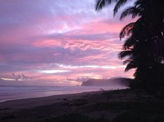 This is not a layout but the sky is actually pink and purple in the splendid beach of San Miguel, Costa Rica.
