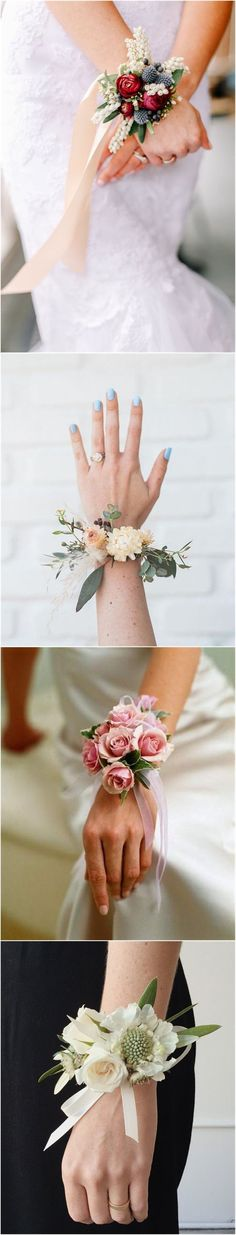 18 Chic and Stylish Wrist Corsage Ideas You Can't Miss! 18 Chic and Stylis Beach Wedding Flowers, Glitter Wedding, Floral Wedding, Diy Wedding, Rustic Wedding, Dream Wedding, Wedding Day, Wedding Coursage, Corsage Wedding