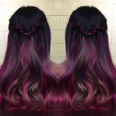 Violet and purple glossy hair color