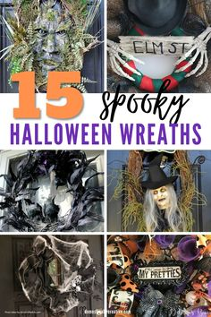 Decorating for Halloween is my favorite, so I'm in love with all of these spooky ideas for making a Halloween wreath. #halloween #wreath #craft # halloweendecor #domesticallycreative