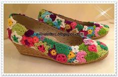 crochelinhasagulhas: Sapato com crochê: