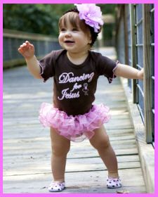 Christian Clothing | Faith Baby | Dancing for Jesus Ruffled One-piece. $25.00  Faith Baby Brand.    www.FaithBaby.com