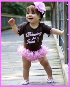 Christian Clothing | Faith Baby | Dancing for Jesus Ruffled One-piece. $25.00  Faith Baby Brand.    www.FaithBaby.com