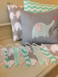 GREY GREEN ELEPHANT NURSERY HANDMADE BUNTING & CUSHION SET modern vintage baby