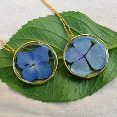 Hydrangea Necklace, Real Hydrangea Flower Pendant, Free Shipping, Eco Resin Pendant, Botanical Penda