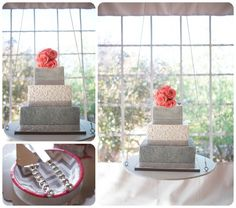Colorado Wedding Vendor, Colorado Wedding Cake Designer, Kelley Kakes, Grey and Pink wedding cake, Hanging wedding cake  http://www.raynamcginnisphotography.com/hudson-gardens-wedding-photographer-morgan-adam/