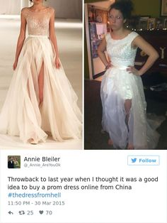 when young women obsess over getting the perfect dress. Ordering a dress online can lead to devastating consequences. Here is a selection of some of the best internet prom dress fails out there. Worst Prom Dresses, Prom Dress Fails, After 5 Dresses, Wedding Dresses 2018, Prom Dresses Online, Wedding Dresses Plus Size, Boho Wedding Dress, Nice Dresses, Bridesmaid Dresses