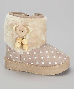 Beige Polka Dot Button Boot #zulily #zulilyfinds