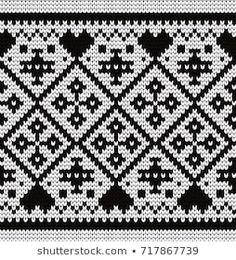 Knitted geometric seamless decorative border Knit Patterns, Cross Stitch Patterns, Shades Of Gray Color, Decorative Borders, Cross Stitching, Texture, Kawaii, Knitting, Blog