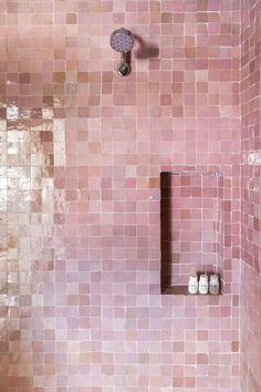 Traditional And Modern Home Decor 11 Bathroom and Kitchen Zellige Tile Ideas - What Is Zellige Tile Eclectic Bathroom, Bathroom Interior Design, Home Interior, Eclectic Tile, Bathroom Designs, Interior Ideas, Bathroom Ideas, Contemporary Pink Bathrooms, Beautiful Bathrooms