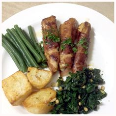 Prosciutto wrapped Flathead Fillets with sauteed spinach, beans and potatoes roasted in duck fat.