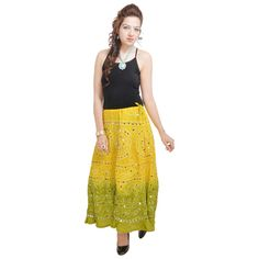 Sunshine Rajasthani Light Green Bandhej Design Cotton Skirt at Mirraw.com