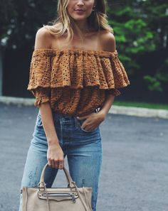 Free People That Girl Off the Shoulder Top Amberglow, Levi's Wedgie Fit Jeans From Anthropologie, Rebecca Minkoff Tan Suede Regan Satchel