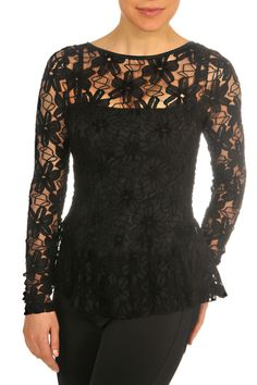 Floral-Lace Bell-Cuff Top, Black by Dolce & Gabbana at Neiman Marcus. Lace Blazer, Lace Peplum, Blazer Jacket, Black Lace Tops, Wool Pants, Muslim Fashion, Floral Lace, Clothes For Women, Chanel Fashion