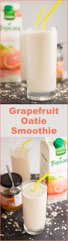 A rejuvenating, naturally sweet tasting and refreshing lift. This quick and easy to prepare grapefruit oatie smoothie is a great source for your daily vitamin C requirement.
