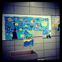 Awesome art project using a little planning, construction paper and imagination. Take an image of anything and draw it out on a bunch of individual sheets of paper, give one sheet to each child and have them work individually, when they are done assemble the pieces and look at them as one cohesive piece of art!