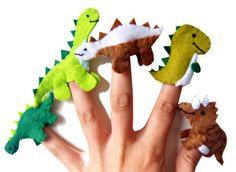 Dinosaur felt finger puppets: