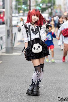 Harajuku Goth Girl w/ Pink Hair, Bell Choker, Demonia Platforms & Broken Doll Items