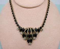 Art Deco Black  Necklace Vintage Black by Violasvintages on Etsy