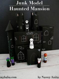 Junk Model Haunted Mansion for Small World Play | Nanny Anita |My Baba Chalk Pens, Chalk Markers, Junk Modelling, Small World Play, Old Shoes, Haunted Mansion, Black Paper, Sensory Play