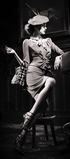 Dior advertisement - like this ensemble with a longer skirt length.  #fashion #vintage #dior