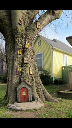 Tree with fake little windows and small door on bottom. Just to make it cute