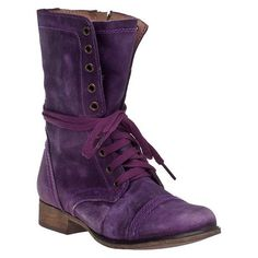 STEVE MADDEN Troopa Combat Boot Purple Leather ❤ liked on Polyvore featuring shoes, boots, ankle booties, combat booties, purple leather boots, army boots, steve-madden ankle booties and military boots