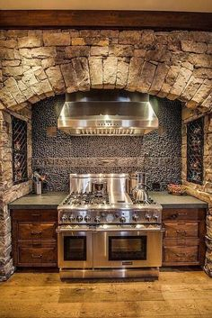 Imagine the wonderful meals we'd create if our stove area looked like this... Rustic Kitchen Lust Stone Kitchen, Kitchen Stove, Kitchen Appliances, Kitchen Dining, Home Design Diy, Tiny House Design, Funky Home Decor, Cool Kitchens, Dream Kitchens