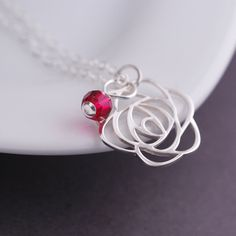 Sterling Silver Rose Necklace Valentine's Day Jewelry Gift by georgiedesigns