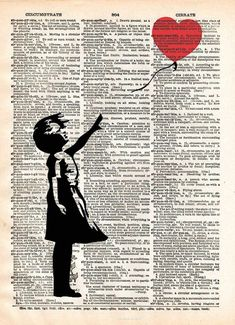 Banksy girl with balloon, red balloon girl print,  street art, vintage dictionary page book art print -  - 1 #streetart